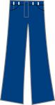 een blauwe broek